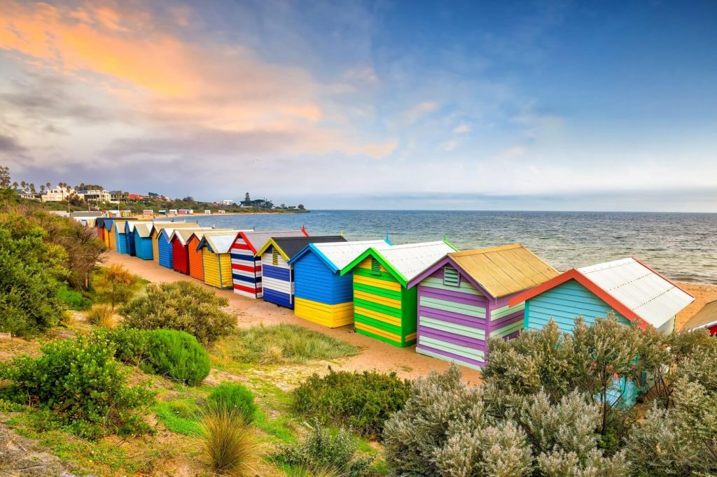 Melbourne Apartment Accommodation Brighton beach with colourful bathing houses
